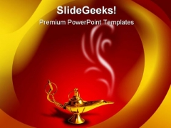 Magic Lamp Metaphor PowerPoint Background And Template 1210