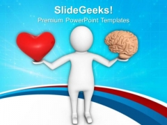 Make A Balance With Heart And Brain Health PowerPoint Templates Ppt Backgrounds For Slides 0713