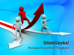 Man Climb Red Arrow Business PowerPoint Themes And PowerPoint Slides 0711