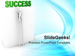 Man Climbs On Ladder Success PowerPoint Themes And PowerPoint Slides 0811