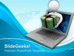 Man Come Out From Computer Screen PowerPoint Templates Ppt Backgrounds For Slides 0713