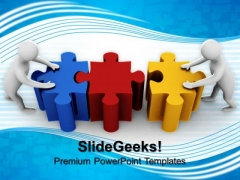 Man Connect Puzzle Teamwork PowerPoint Templates And PowerPoint Themes 0912