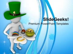 Man Holding A Clover Leaf With Lucky Symbol PowerPoint Templates Ppt Backgrounds For Slides 0313