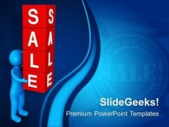 Man Holding Sale Cubes PowerPoint Templates Ppt Backgrounds For Slides 0713