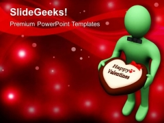 Man Offering Chocolate Treat Valentine Note PowerPoint Templates Ppt Backgrounds For Slides 0213
