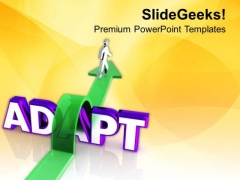Man On Arrow Jumping Over The Word Adapt PowerPoint Templates Ppt Backgrounds For Slides 0713