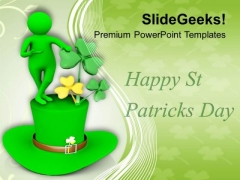 Man Over Green Hat St Patricks Day PowerPoint Templates Ppt Backgrounds For Slides 0313
