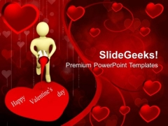 Man Painting Heart With Red Color Valentines PowerPoint Templates Ppt Backgrounds For Slides 0213