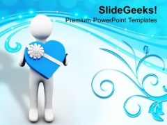 Man Presenting Valentine Gift PowerPoint Templates Ppt Backgrounds For Slides 0213