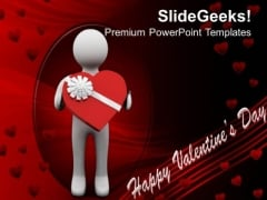 Man Presenting Valentine Gift Youth PowerPoint Templates Ppt Backgrounds For Slides 0213