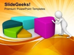 Man Push Pie Chart Steps To Growth PowerPoint Templates Ppt Backgrounds For Slides 0813