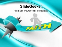 Man Rides On Faith Religion PowerPoint Templates And PowerPoint Backgrounds 0311
