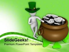 Man Showing A Big Coines Pot Saint Patrick PowerPoint Templates Ppt Backgrounds For Slides 0313