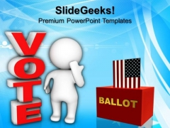 Man Standing Beside The Vote Election PowerPoint Templates And PowerPoint Themes 0912