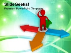 Man Try To Find His Way PowerPoint Templates Ppt Backgrounds For Slides 0713