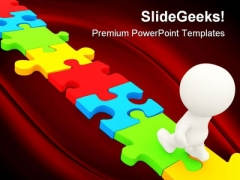 Man Walking On Puzzle Business PowerPoint Themes And PowerPoint Slides 0311