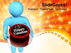 Man Wishing Valentine With Cake PowerPoint Templates Ppt Backgrounds For Slides 0213
