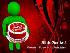 Man Wishing Valentines With Cake PowerPoint Templates Ppt Backgrounds For Slides 0213