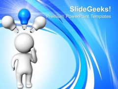 Man With Blue Light Bulb Technology PowerPoint Templates And PowerPoint Themes 0712