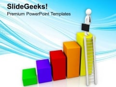Man With Briefcase On Bar Graph PowerPoint Templates Ppt Backgrounds For Slides 0713