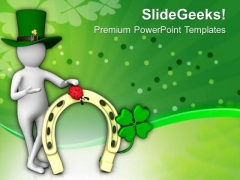 Man With Clover Flower Of Irish Culture PowerPoint Templates Ppt Backgrounds For Slides 0313