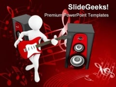 Man With Guitar And Loud Speakers Music PowerPoint Themes And PowerPoint Slides 0211