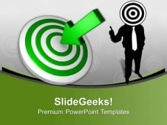 Man With Target Board Aim Goal PowerPoint Templates Ppt Backgrounds For Slides 0313