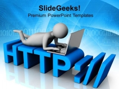 Man Working On Laptop Internet Theme PowerPoint Templates Ppt Backgrounds For Slides 0813