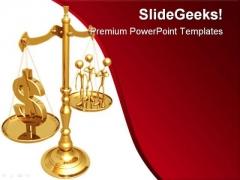 Manpower Versus Dollar Business PowerPoint Template 1110