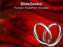 Maroon Background With Rose And Rings PowerPoint Templates Ppt Backgrounds For Slides 0613