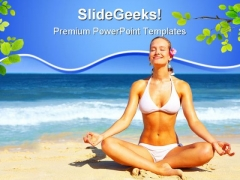Meditating Near Beach Nature PowerPoint Templates And PowerPoint Backgrounds 0811