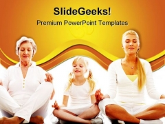 Meditating Together Family PowerPoint Themes And PowerPoint Slides 0811