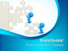 Men Assembling Puzzle Business PowerPoint Templates And PowerPoint Backgrounds 0511