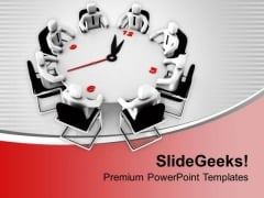 Men In Conference Hall Around Clock PowerPoint Templates Ppt Backgrounds For Slides 0313