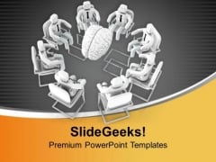 Men In Meeting Around Human Brain PowerPoint Templates Ppt Backgrounds For Slides 0713
