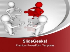Men Joining Circular Puzzle Pieces Leadership PowerPoint Templates Ppt Backgrounds For Slides 0213