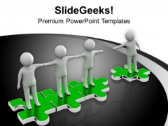 Men Joining Hands On Puzzle Interconnection PowerPoint Templates Ppt Backgrounds For Slides 0213