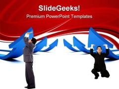 Men Pushing Arrows Business PowerPoint Themes And PowerPoint Slides 0611