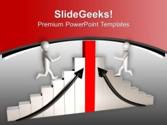 Men Running On Graph To Achieve Success PowerPoint Templates Ppt Backgrounds For Slides 0213