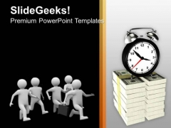 Men Running Towards Clock Money PowerPoint Templates Ppt Backgrounds For Slides 0213