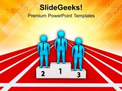 Men Standing On Winning Podium PowerPoint Templates Ppt Backgrounds For Slides 0713
