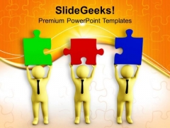 Men Try To Join The Puzzle Pieces PowerPoint Templates Ppt Backgrounds For Slides 0713