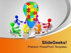 Men With Colorful Jigsaw Puzzle Idea PowerPoint Templates Ppt Backgrounds For Slides 0213