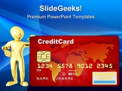 Men With Credit Card Finance PowerPoint Templates And PowerPoint Backgrounds 0411