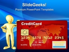 Men With Credit Card Finance PowerPoint Themes And PowerPoint Slides 0411