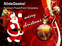 Merry Christmas With Santa Holidays PowerPoint Template 1010