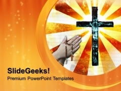 Metal Cross Christian PowerPoint Templates And PowerPoint Themes 0712