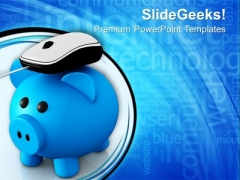 Metallic Piggy Bank With Computer Mouse PowerPoint Templates Ppt Backgrounds For Slides 0213