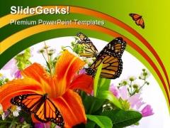 Monarchs On Flowers Beauty PowerPoint Template 0910