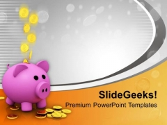 Money Bank With Coins Falling Business PowerPoint Templates Ppt Backgrounds For Slides 0313